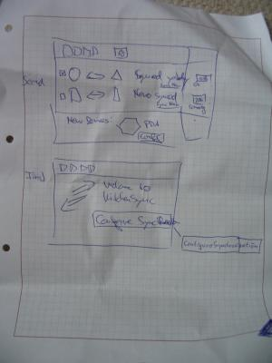 Photo of a sheet of paper showing the second part of the KitchenSync design