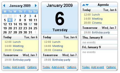 Gadget Calendario.Calendar Widget Desktop