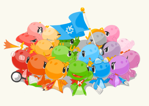 KDE dragons of different colors, antlers and belongings