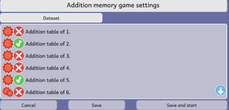 Addition Memory game Activity Dataset Screen Dialog