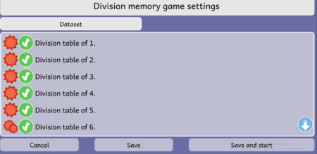 Division Memory game Activity Dataset Screen Dialog