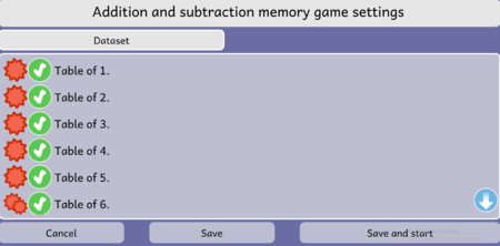 Addition and Subtraction Memory game Activity Dataset Screen Dialog