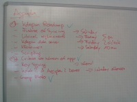 Photo of a whiteboard showing the agenda of the meeting