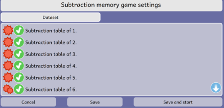 Subtraction Memory game Activity Dataset Screen Dialog